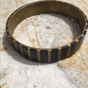 Vintage Inlay Black & Brass Boho Bangle